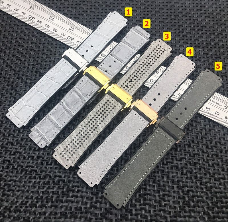 MAGNIFICENT Grey Series Leather Rubber Strap Watchband for Hublot Big Bang Fusion