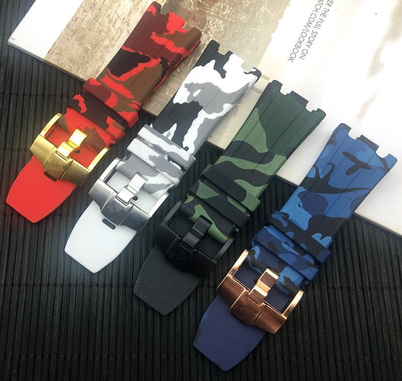 CAMOUFLAGE 28mm Rubber Watch Strap Band for AP Audemars Piguet Royal Oak Offshore