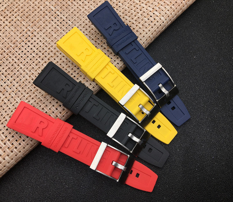 BREXIT Silicone Rubber Watch Band Strap for Breitling Navitimer Avenger 22mm 24mm