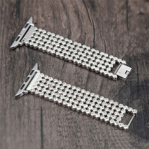 SHINEE CZ Diamond SS Watch Band Bracelet for 38/40/42/44mm Apple Watch 5 4 3 2 1