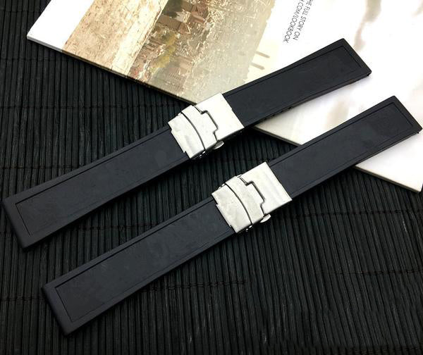 BREITIME Black Silicone Rubber Watch Band Strap for Breitling Navitimer Avenger 22mm 24mm