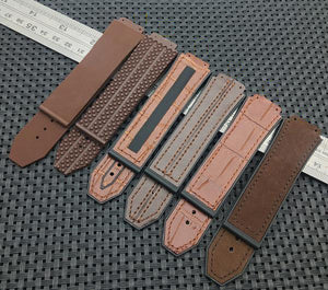 HERCULES Leather Stitched Rubber 25x19mm Watch Strap Band for Hublot Big Bang Fusion