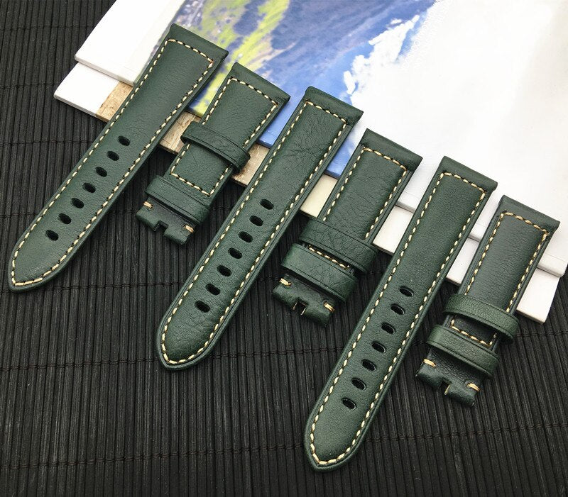 ROLEXI Calf Leather Watch Band Strap for Panerai PAM Watch 22mm 24mm 26mm