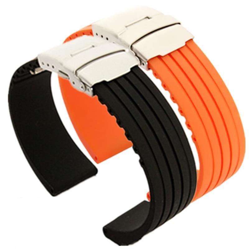 PIRELLI Silicone Watch Strap Band Deployment Buckle 18mm 20mm 22mm 24mm