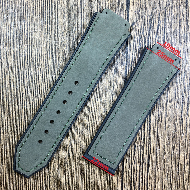 TOUR Velvet Suede Leather Rubber Watch Band Strap for Hublot Big Bang Fusion 25x19mm