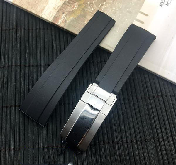 MIDNIGHT 20mm Black Silicone Rubber Watch Band Strap For Daytona Submariner GMT Datejust