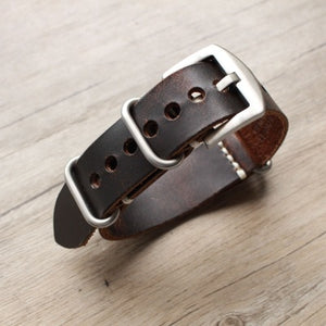 CARTER Distressed Design ZULU NATO Handmade Leather Watch Strap Band 20mm 22mm 24mm