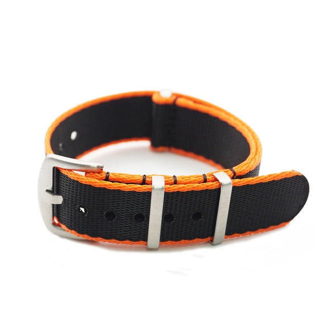 NATOBELT G10 Seat Belt Nylon Edge-stripe 1.4mm Thick Watch Band Strap 20mm 22mm