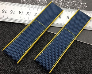 BORDER Classy Nylon Silicone Rubber Watch Band Strap for Breitling Navitimer Avenger 22mm