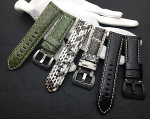 NAGINI 24mm Lux Italy Snakeskin Leather Watch Band Strap For Panerai PAM111/386/441/1312