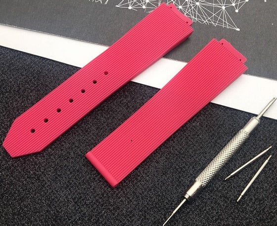 PRETTY Smooth Silicone Rubber Ladies Watch Strap Band for Hublot Big Bang Fusion 15x21mm