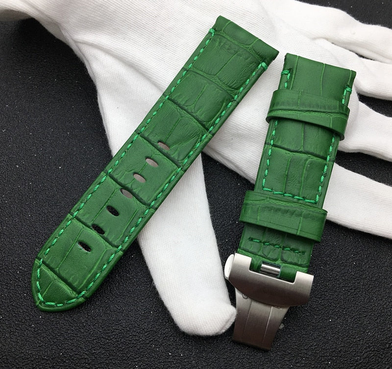 MONTY 24mm Real Leather Watch Band Strap B-fly Buckle For Panerai PAM 111/386/441/1312