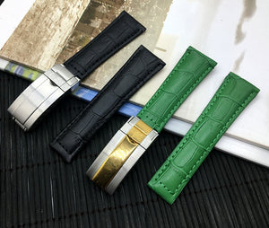 NOBLE 20mm Genuine Leather Watch Band Strap for Daytona Submariner GMT Datejust