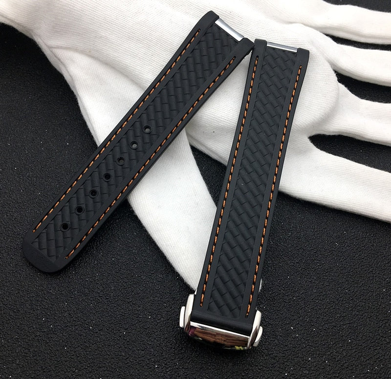 ICONIC Silicone Rubber Watch Band Strap 20mm for Omega Seamaster 300 w/Logo