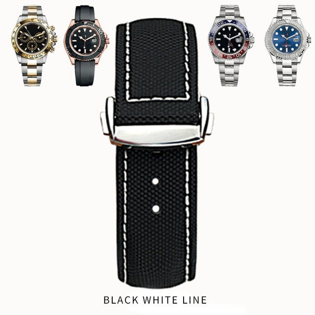 SPEED Nylon Leather Back Watch Band Strap 19mm-22mm for Seamaster Speedmaster Ocean