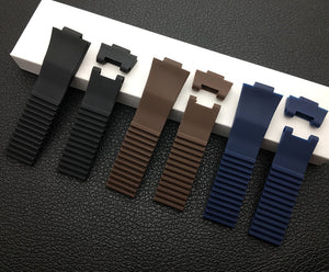 CHRONO 12x25mm Waterproof Soft Rubber Watch Band Strap For Ulysse Nardin Diver