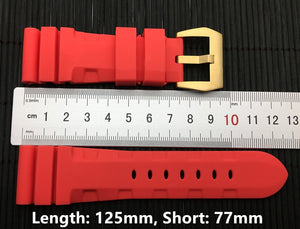 CHOUC2 Waterproof Rubber Watch Band for Panerai PAM Logo Buckle 24mm 26mm 8 Colors