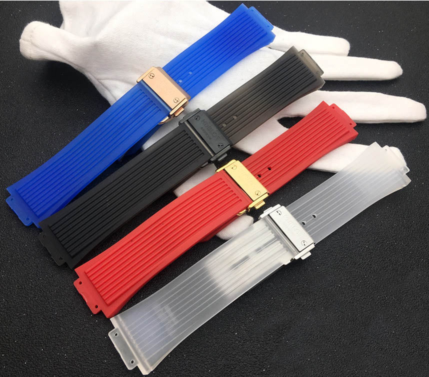 HUED Translucent Rubber Watch Strap Band for Hublot Big Bang Fusion 26x17mm