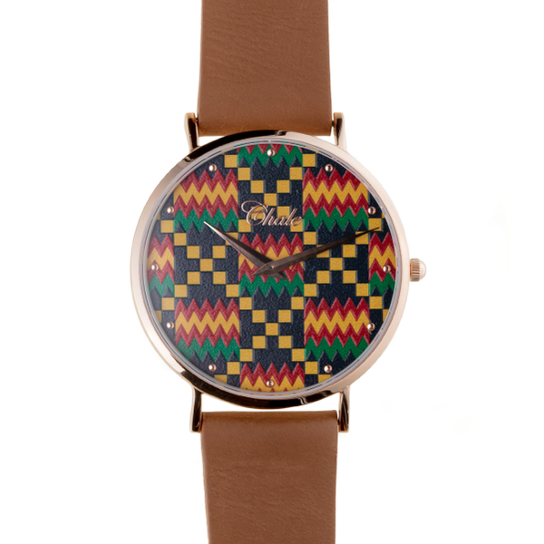 kente chale watch brown strap