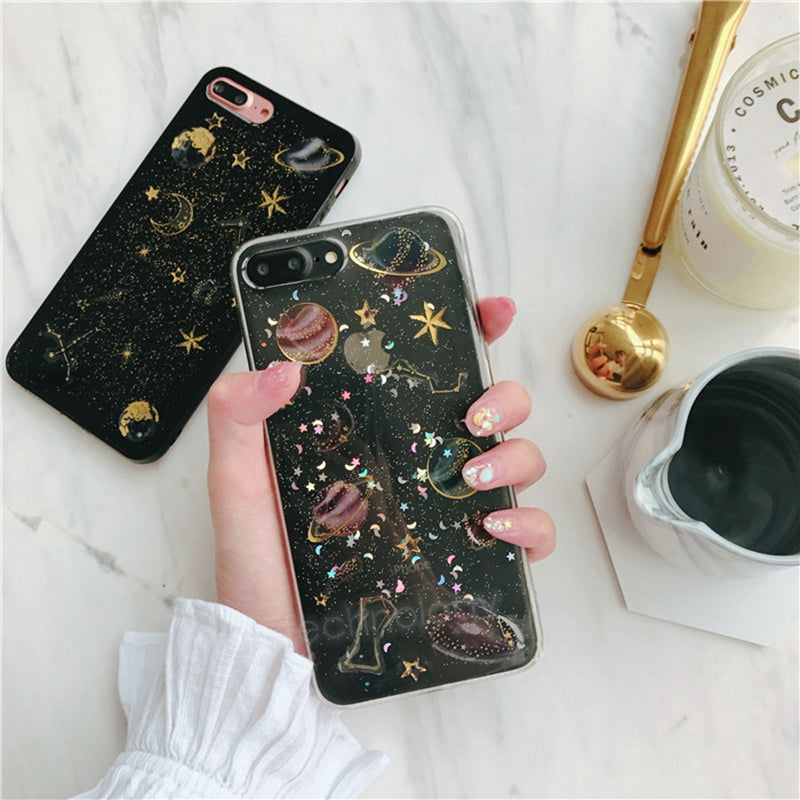 size 40 df657 b39e7 KISSCASE 3D Space Planet Glitter Case For iphone 8 Plus iphone 6 6s 7 Plus  Case Silicon Case For iPhone X 5 5s SE Back Cover
