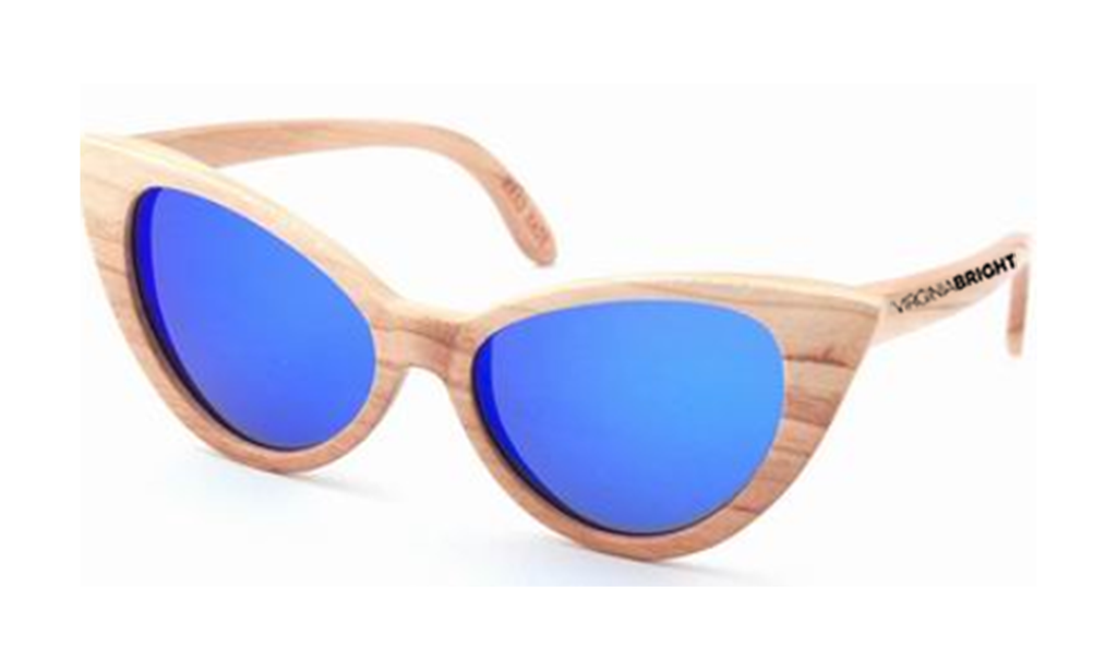 Virginia Bright Wood Sunglasses Collection / Cat Blue Vintage