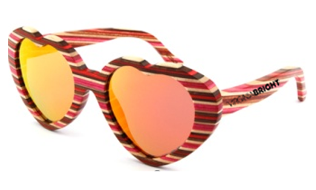 Rainbow wood frame with Red real polarized lens