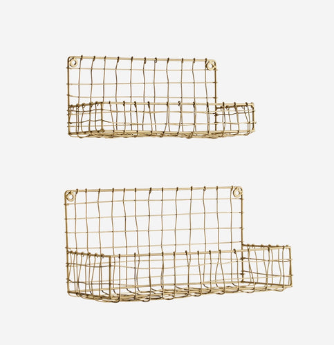 Pair of metal wire shelves