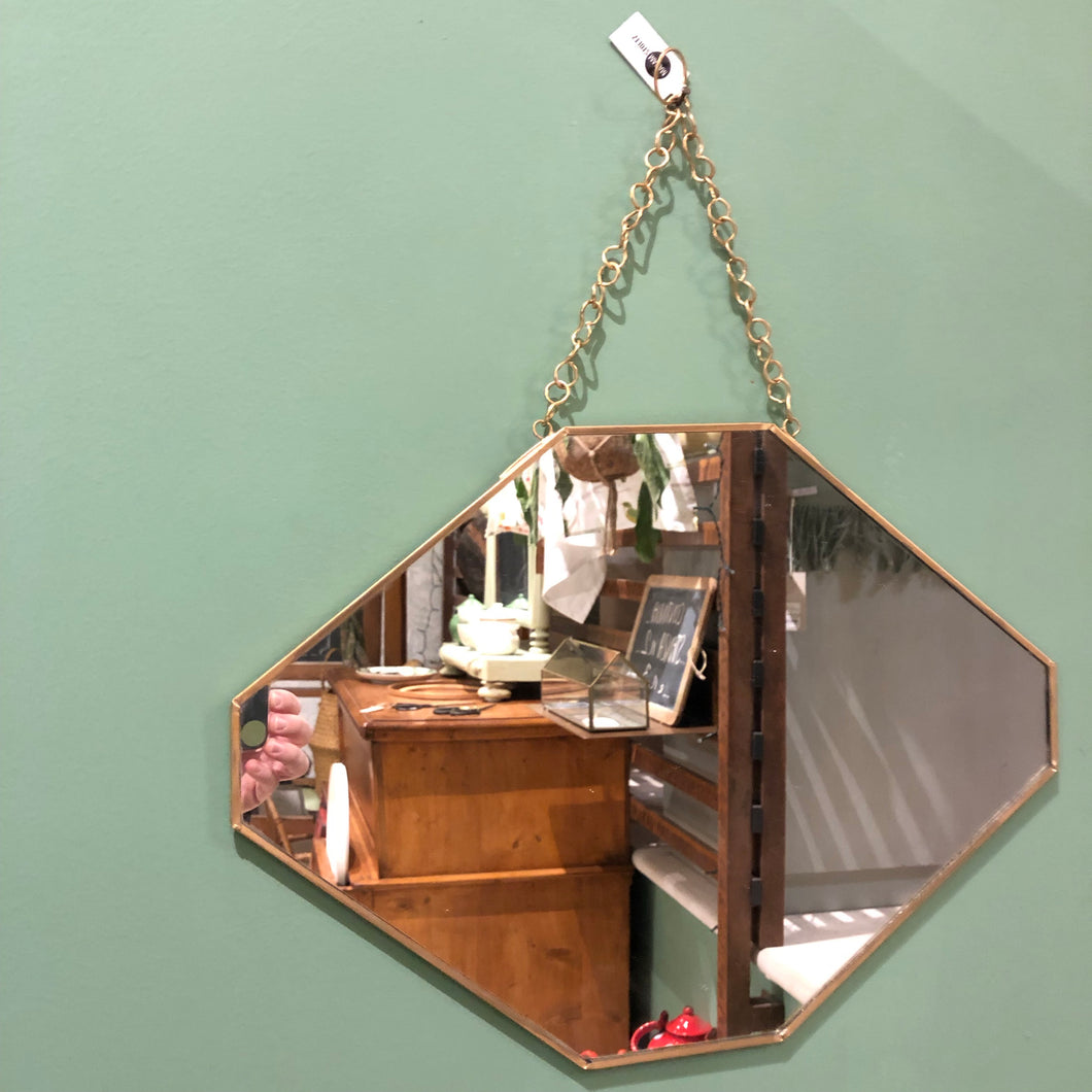specchio mirror hanging nordic oro gold chain wall