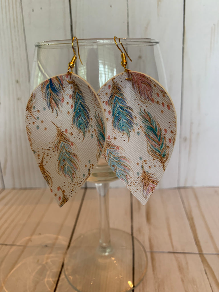 Feather Tear Drop Earrings