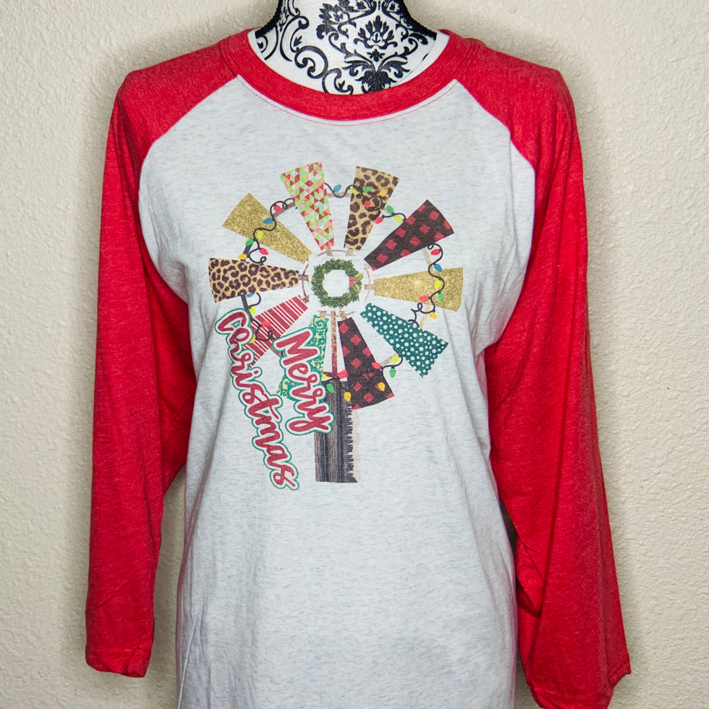 Merry Christmas with Windmill Raglan