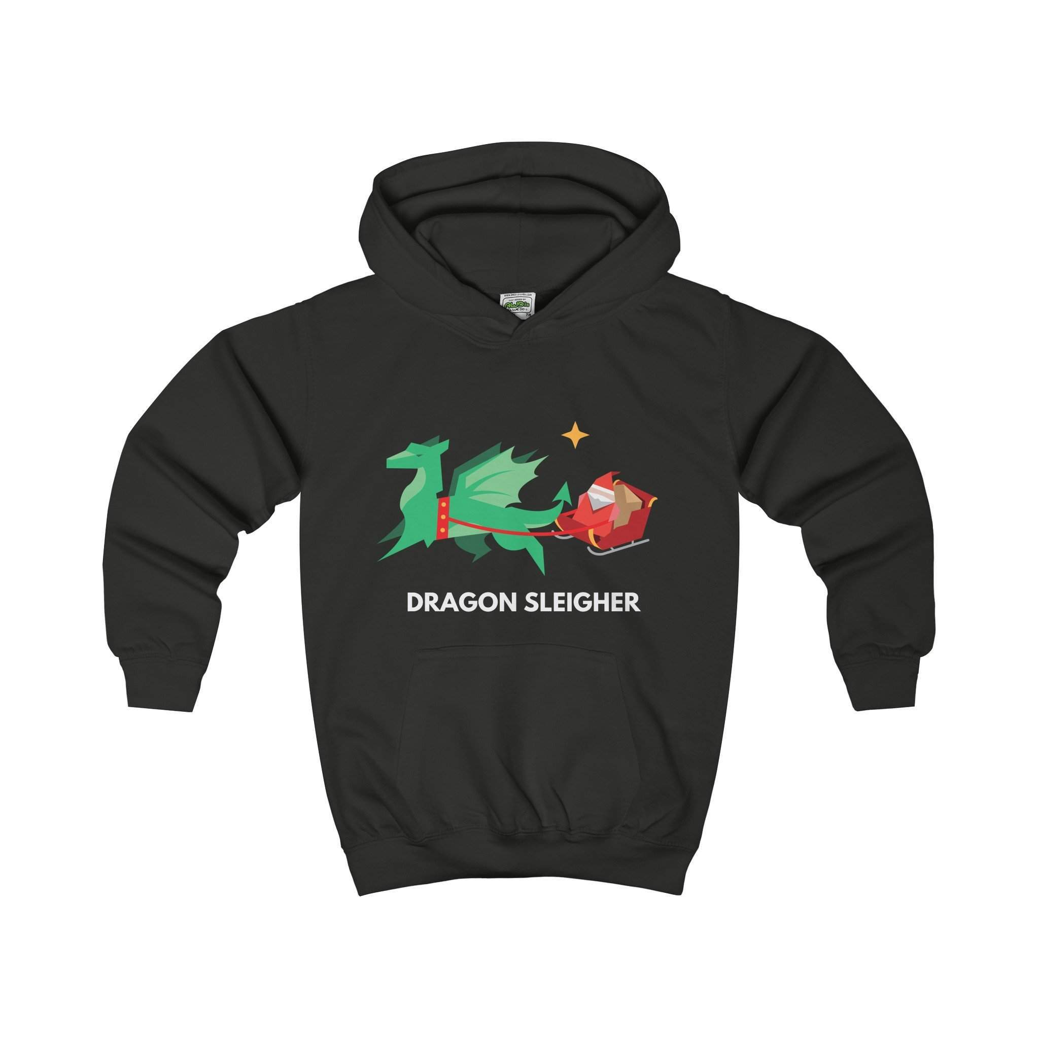 Dragon Sleigher Kids' Christmas Hoodie-Kids clothes-Jolly Christmas Jumper