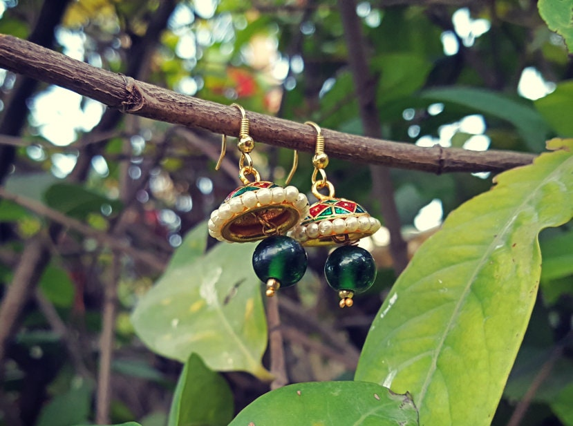 Indian meena kari earrings-Meena Earrings- Indian earrings- Dangle earrings- Tribal Gypsy Earrings- Boho earrings- Jewelry- Bohemian jewelry