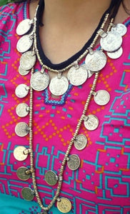 Bohemian necklace- Afghan boho coin necklace-  Afghan Necklace-  Tribal Ethnic Jewelry- Chained Coin Dangles,Antique,Gothic,Handmade