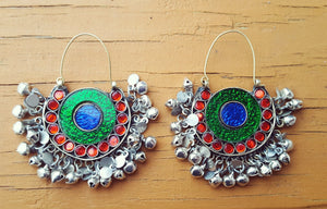 Statement earrings- Hoop earrings- Afghan earring- Kuchi earring-bohemian earring- Ethnic earring.Tribal hoop.Bedouin Jewelry. Kuchi jewelry