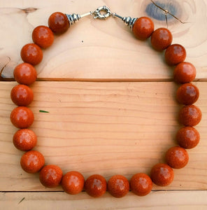 Goldstone necklace- Semi precious goldstone necklace. Semi precious Jewelry.Handmade Necklace. Bohemian jewelry- Beaded necklace- Gold stone