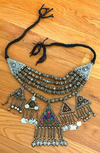 ANTIQUE  Kashmiri necklace- tribal Statement necklace- Ethnic tribal jewelry- Statement jewelry- Bohemian necklace- Gypsy necklace-