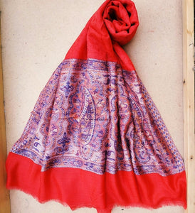 Red Cashmere Wrap- Pure Pashmina shawl-Cashmere scarf- Printed Cashmere scarf- Cashmere shawl- Warm winter cashmere shawl- Winter shawl