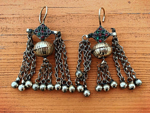 Afghan coin earrings. bohemian earrings. long dangle earrings. statement earrings. boho earrings. ethnic jewelry