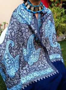 Embroidered Cashmere Shawl- 100% Cashmere- Cashmere Shawl-  Pashmina scarf- Cashmere Scarf-- Winter Pashmina Shawl- Cashmere shawls-