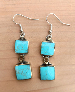 Turquoise earrings- Afghan kuchi earrings- Bohemian turquoise earrings- Everyday earrings- Casual earrings