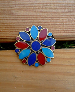 Bohemian ring- Flower ring- Turquoise ring- Statement ring- Gifts for her .Nomadic Gypsy Stone ring.Flower Ring.Afghan vintage ring