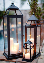 Lanterns with pillar candles inside