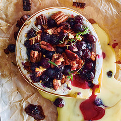 Maple syrup, pecans and blueberry