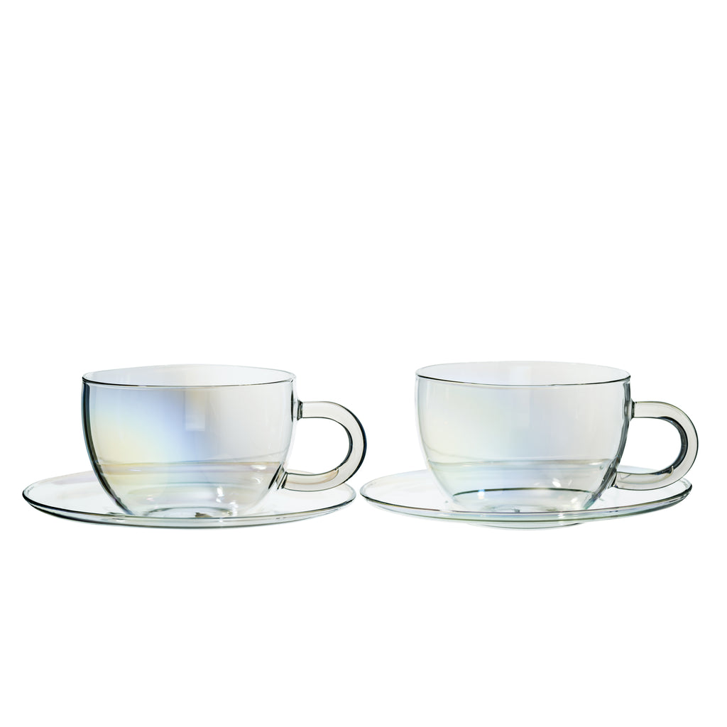 Clear Glass Cup & Saucer - Set of 2