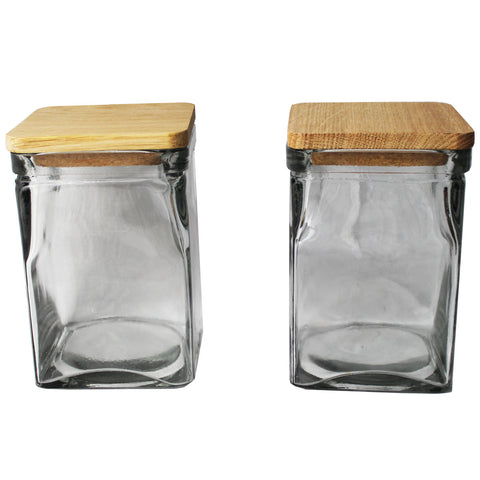 Set of 2 Glass Storage Jars