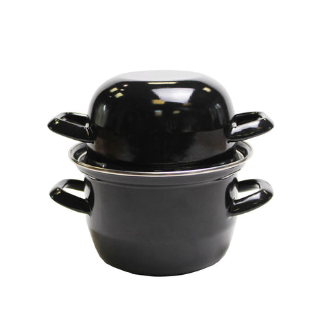 Individual Enamelled Mussel Pot Black