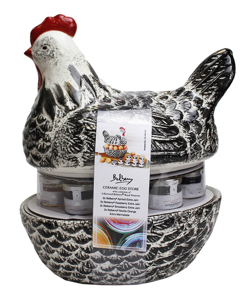 Ceramic Hen Egg Store & Belberry Jam Gift Set