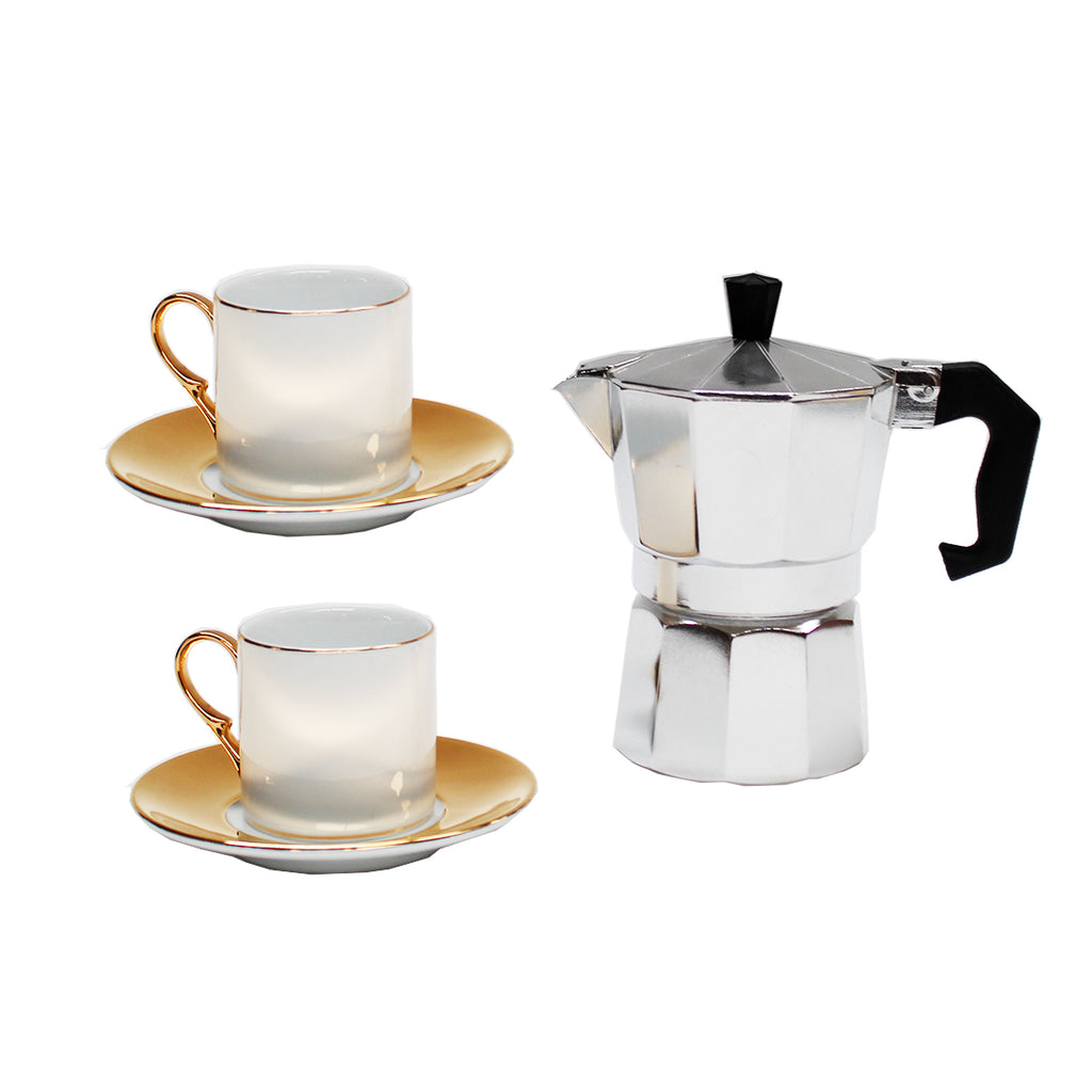 Espresso Maker with Gold & White Cups Gift Set