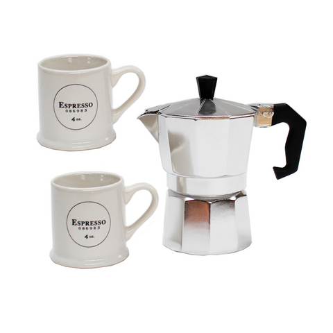 Espresso Maker & White Cups Gift Set