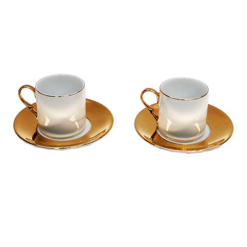 Set of Two - Gold and White Espresso Cups